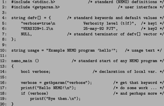 6.3.3 An example NEMO program