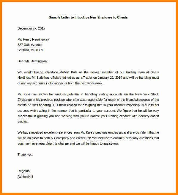 Introduction Letter Of New Employee - Mediafoxstudio.com
