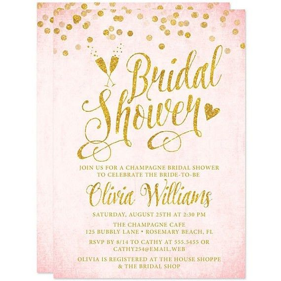 Pink And Gold Bridal Shower Invitations | christmanista.com