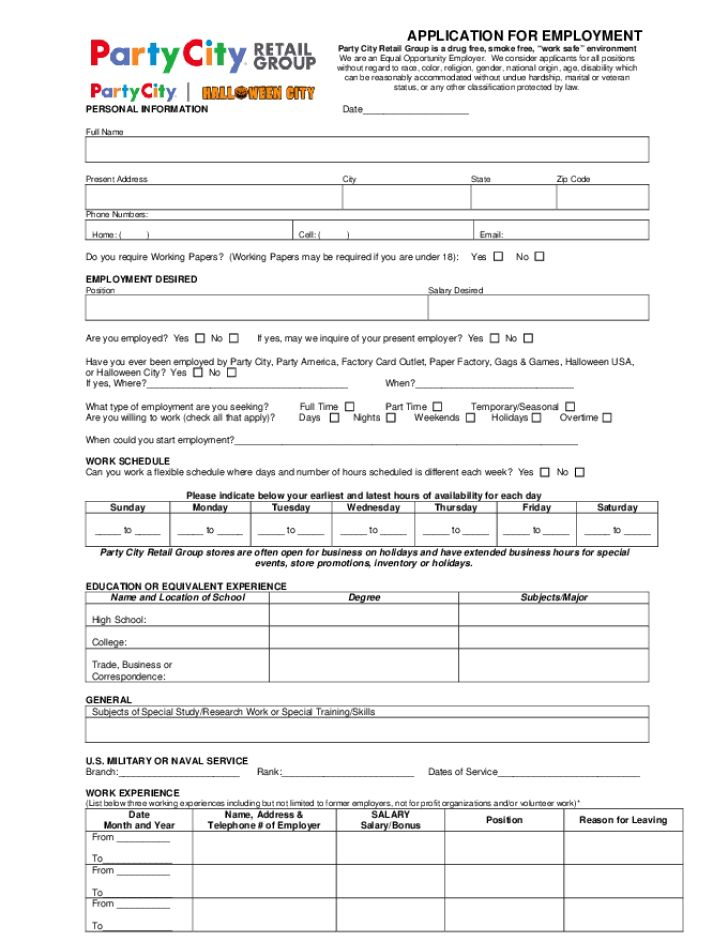 Free Printable Party City Job Application Form