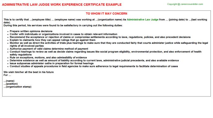 Administrative Law Judge Work Experience Certificate