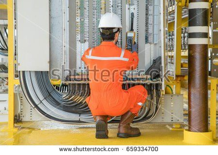 Electrical Instrument Technician Replace Solenoid Shut Stock Photo ...