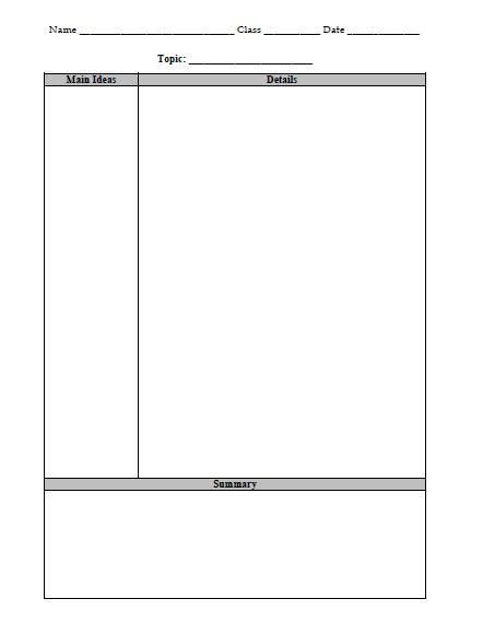 Cornell Notes Template | Cornell notes, High school and Note