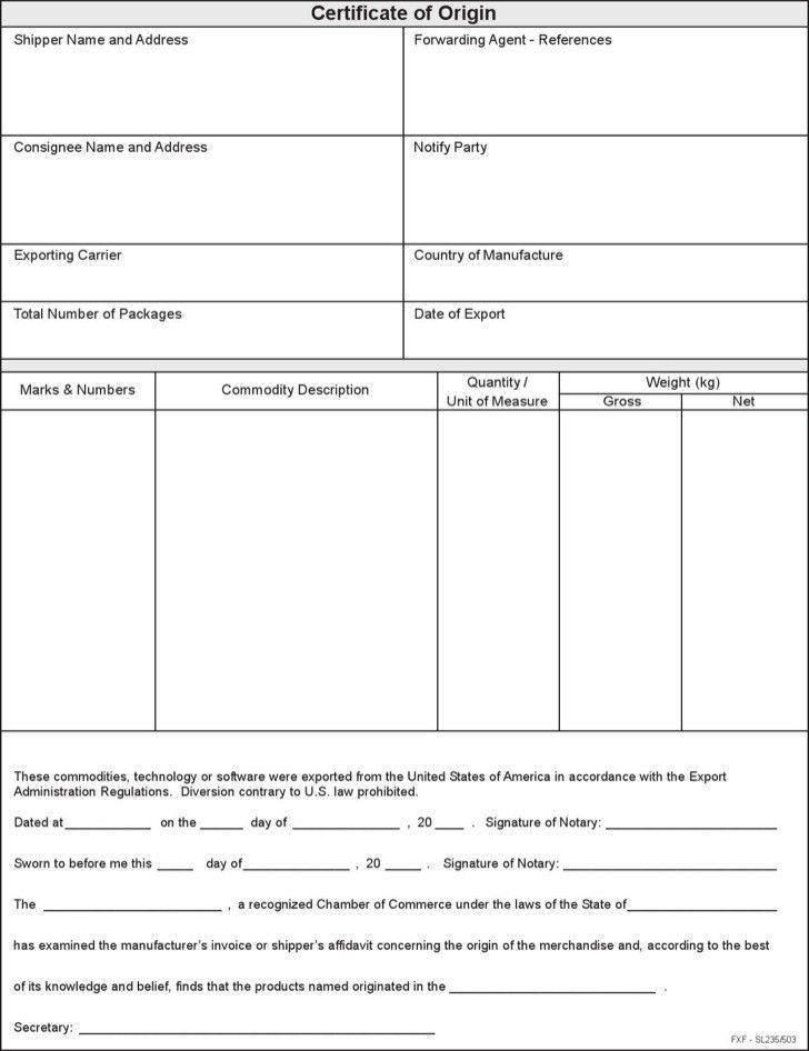 Certificate of Origin Templates | Download Free & Premium ...