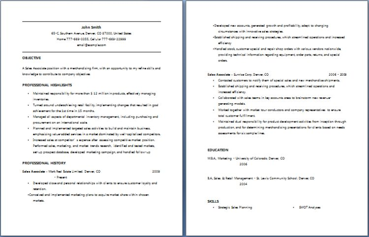 Sales Associate Resume | Free Layout & Format