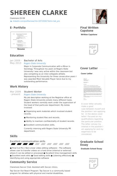 Student Worker Resume samples - VisualCV resume samples database