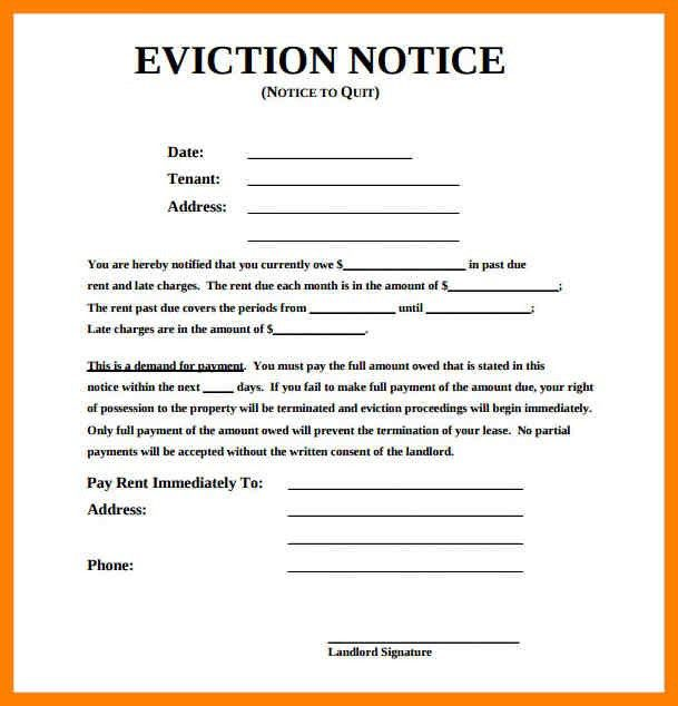10+ blank eviction notice | aplication format