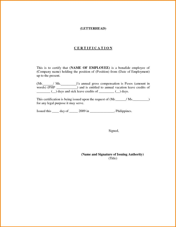 sample certificate of employment for resigned employee | Best and ...