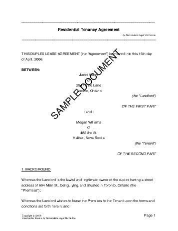 Printable Sample Renters Lease Agreement Form | Real Estate Forms ...