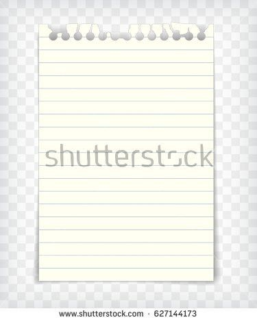 Blank Lined Note Book Page Torn Stock Vector 627144071 - Shutterstock