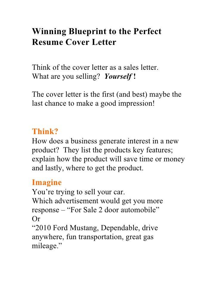 winning blueprint to the perfect resume cover letter think of the ...