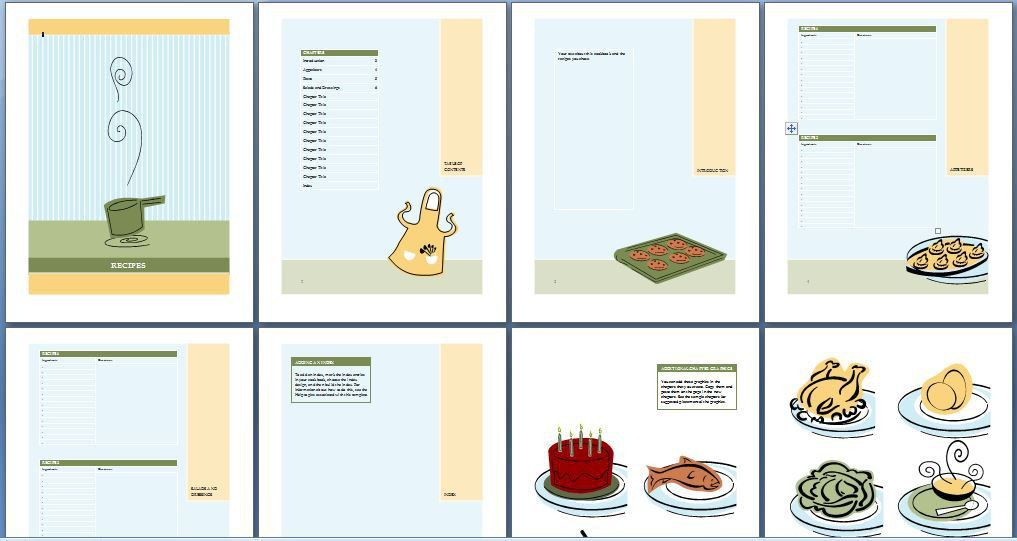 Printable Cookbook Template for Word | Formal Word Templates