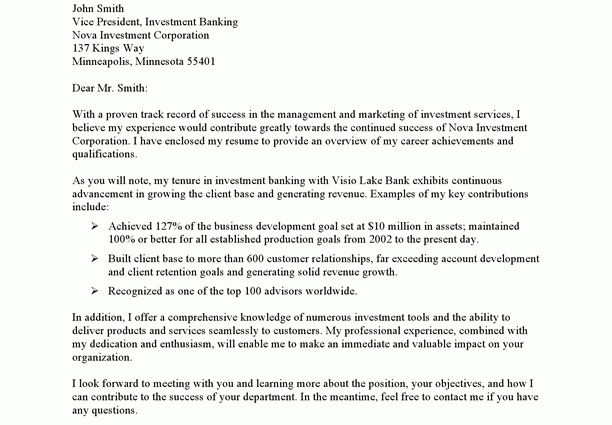 investment banking sample cover letter Cover Letter Example Short ...