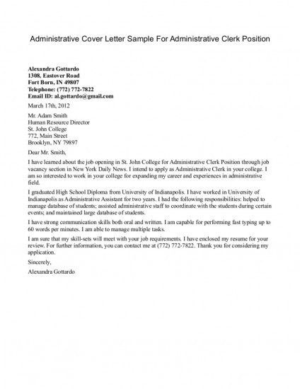administrative cover letter