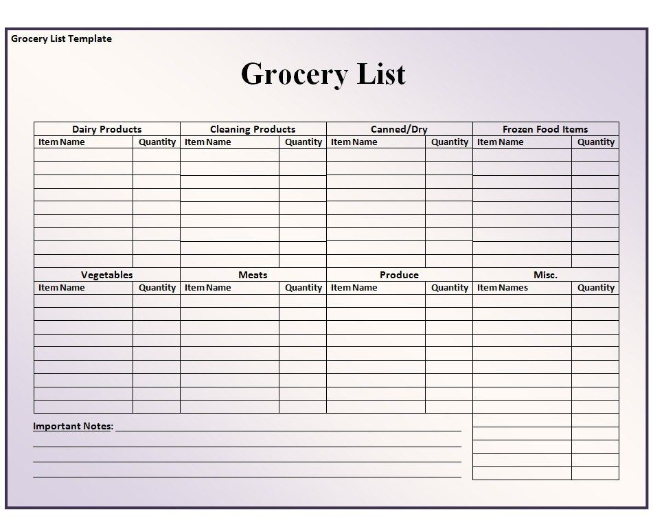 Grocery List Template - Free Formats Excel Word