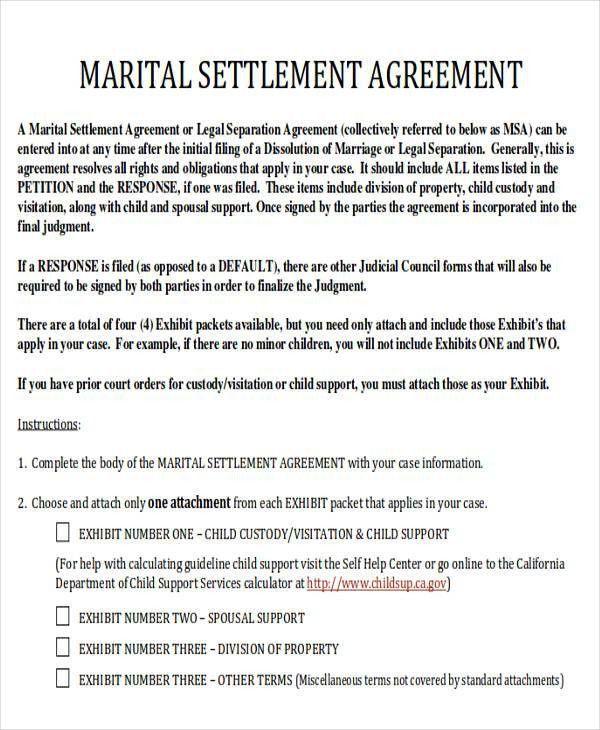 Divorce Agreement Sample - 7 Examples in Word, PDF