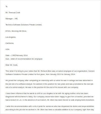 14+ Recommendation Letter Templates- Free Sample, Example, Format ...