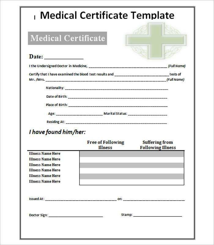 Medical Certificate Template - Free Word, PDF Documents | Creative ...