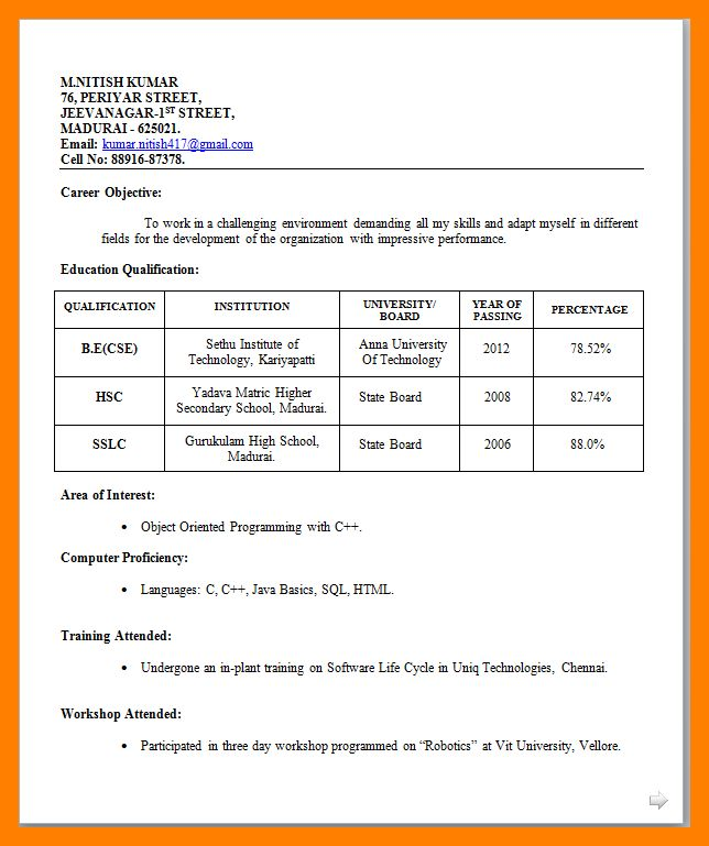 12+ simple resume format for freshers | janitor resume