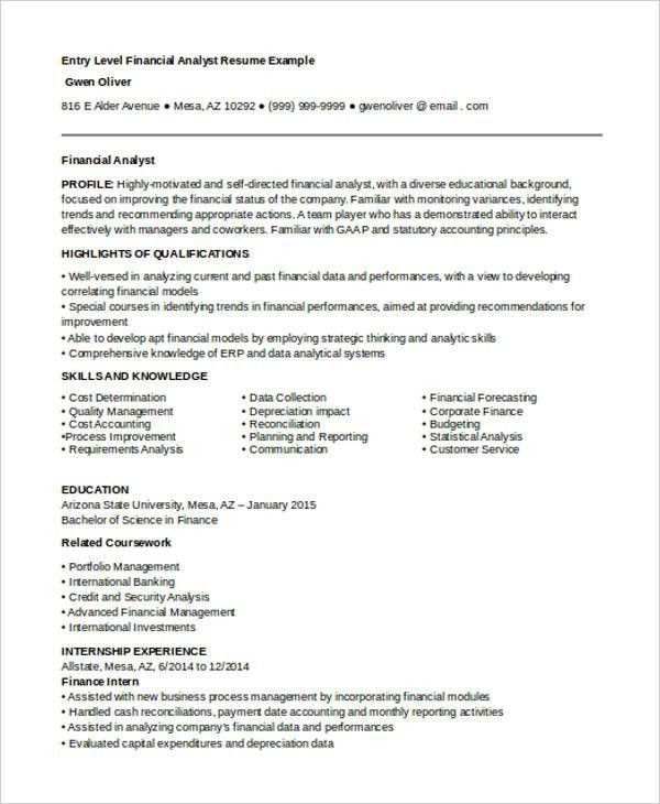 Best Finance Resume Templates- 31+ Free Word, PDF Documents ...