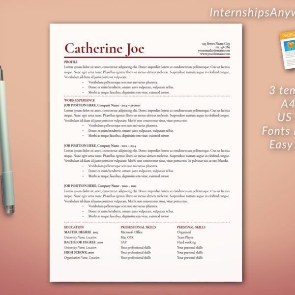Resume Template / Cover Letter Template / References Template ...