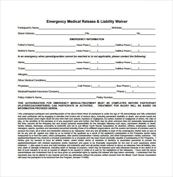 release liability waiver template