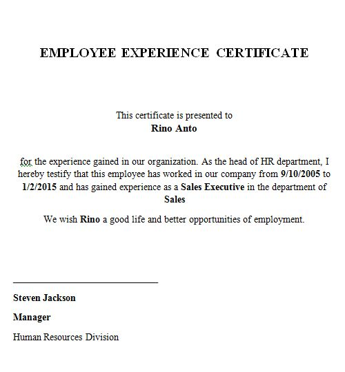 Employee working certificate format employment certificate 36 free experience certificate yadclub Choice Image