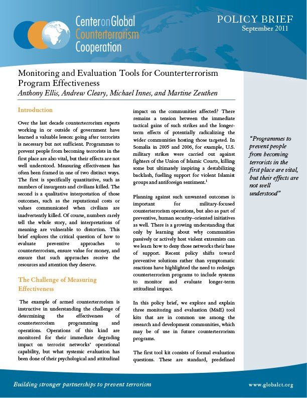Monitoring and Evaluation Tools for Counterterrorism Program ...