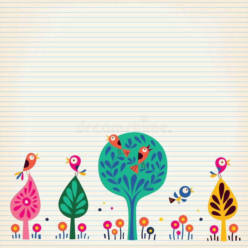 Birds In The Trees Nature Illustration Lined Paper Background ...