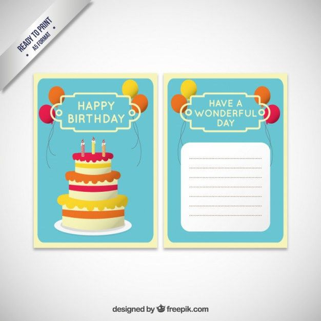 Birthday invitation card template with cake Vector | Free Download
