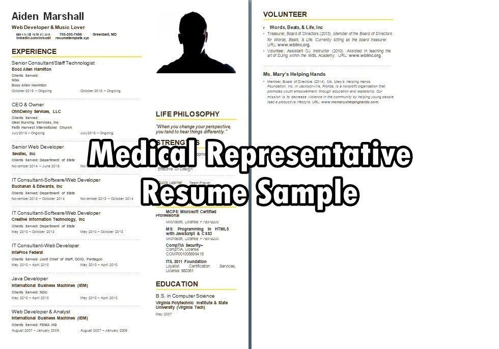 medical rep resume