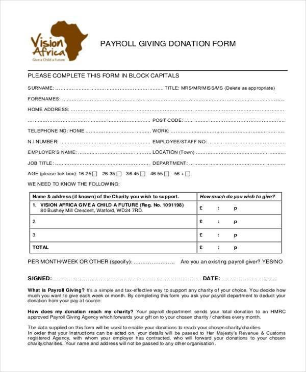 Sample Payroll Giving Forms - 8+ Free Documents in Word, PDF