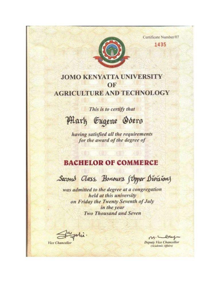 JKUAT Degree Certificate