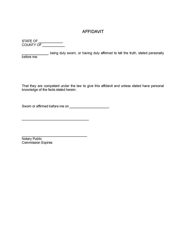 Best Photos of General Affidavit Template - Free Printable General ...