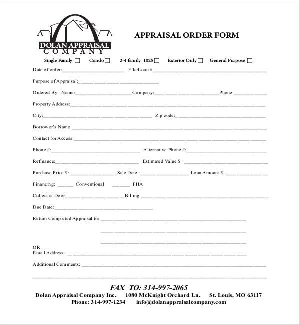 Sample Appraisal Order Forms   7+ Free Documents In Word, PDF
