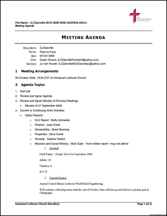 Inspiring Meeting Agenda Template Example for Church with ...