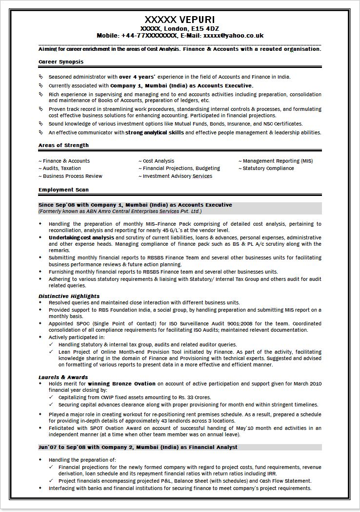 Good Resume Example India - Templates