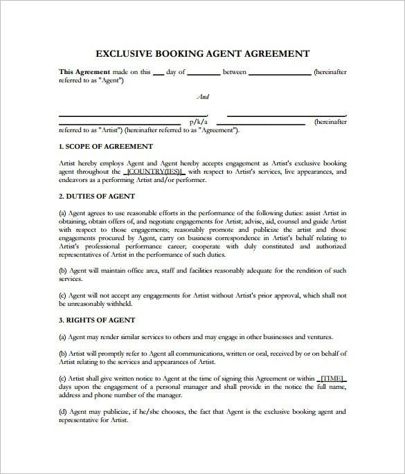11+ Booking Agent Contract Templates – Free Word, PDF Documents ...