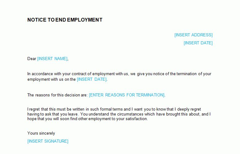 Termination of Notice Letter Template - Bizorb
