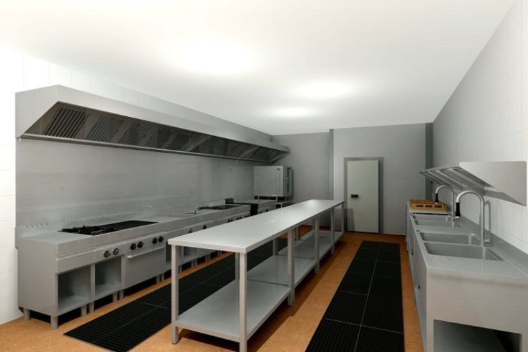 Small Restaurant Kitchen Design With Stainless Steel Furniture ...