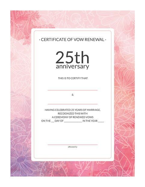 Free Printable Watercolor 25th-Anniversary Vow Renewal Certificate