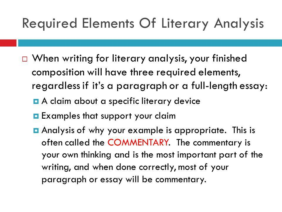 WRITING ABOUT DICTION. Required Elements Of Literary Analysis ...
