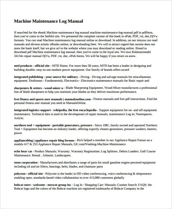 Maintenance Log Template – 10+ Free Word, Excel, PDF Documents ...