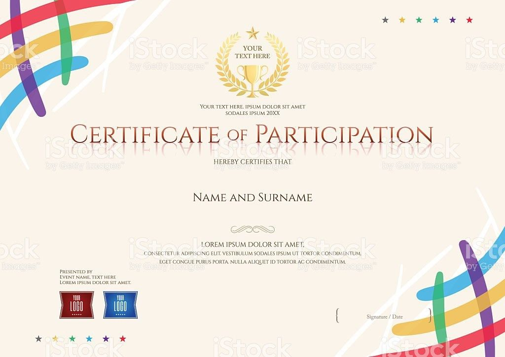 Certificate Of Participation Template With Colorful Corner And ...