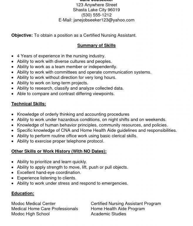 Nurse Aide Resume Skills. resume marketing job cv sample ...