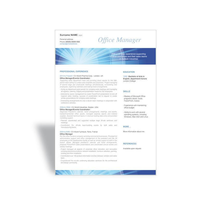 Download and write a great word CV résumé template office manager