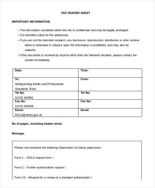 Word Fax Template - 12+ Free Word Documents Download | Free ...