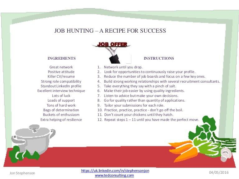 Job hunting - a recipe for success