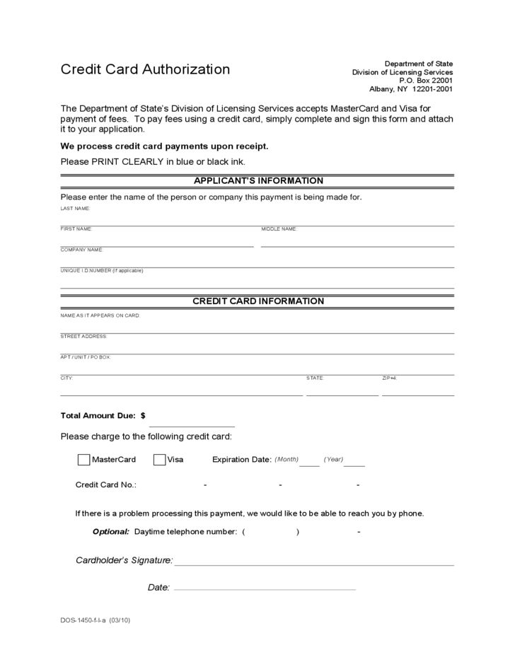 Credit Card Authorization Form Template Authorization For Credit