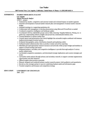 Market Research Analyst Resume Sample | Velvet Jobs